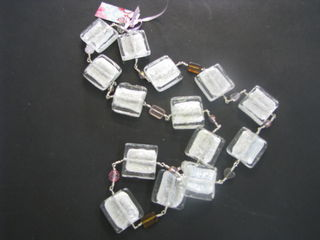 Glass foil square beaded necklace