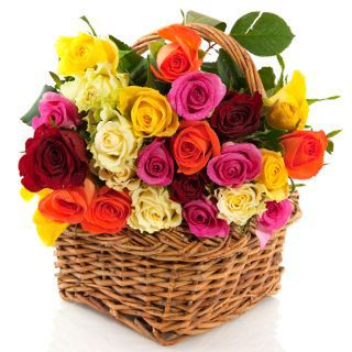 Basket of Romantic Roses - larger